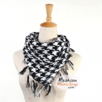 ผ้าพันคอชีมัค Shemash (เนื้อผ้า Cotton) : สีขาวดำ CV0001