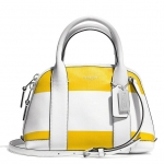 COACH BLEECKER MINI PRESTON SATCHEL IN STRIPED COATED CANVAS # 30172 สี Silver/Sunglow/White