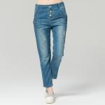 กางเกงยีนส์ขายาว เอวสูง ติดกระดุม (L,XL,2XL,3XL,4XL)