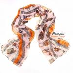 ผ้าพันคอลายสินค้าแฟชั่นเก๋ๆ Fashions : สีส้ม CK0371