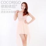 """""""พร้อมส่ง""""เสื้อผ้าแฟชั่นสไตล์เกาหลีราคาถูก Brand Cocorigo เดรสแขนกุดด้านหน้าตาข่ายติดดอกไม้ ต่อกระโปรงหน้าสั้นหลังยาว มีซับช่วงกระโปรง -สีโอรส(สีจริงจะเข้มกว่าในรูปนะคะ)"""