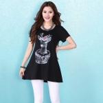 เสื้อผ้าฝ้ายยืด สีดำ สกรีนลายการ์ตูน XL 2XL 3XL 4XL