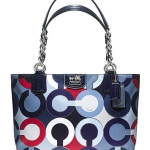 Coach Madison Graphic Op Art Metallic Tote # 21235 สี Blue Multi