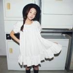 """""""พร้อมส่ง""""เสื้อผ้าแฟชั่นสไตล์เกาหลีราคาถูก Brand Vivi Party เดรสผ้าฝ้ายสีขาว แขนสั้น ทรงปล่อย ไม่มีซับใน"""