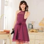 ชุดเพื่อนเจ้าสาวไซส์ใหญ่ผ้าลูกไม้ สีม่วงแดง XL 2XL 3XL