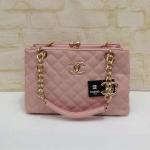 กระเป๋า Chanel สามช่องปากหีบ ฐาน 12.5 สูง 8 กว้าง 5.5 นิ้ว สีชมพู