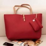 """""""พร้อมส่ง""""กระเป๋าแฟชั่น Axixi สายสีครีม ใบใหญ่ บรรจุของได้เยอะ สะพายได้ แบบเดียว สวยค่ะ -สีแดง"""