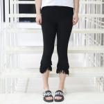 ♥พร้อมส่ง♥ กางเกงสีดำไซส์ใหญ่ ขาสามส่วน ปลายขารุ่ยซ้อนสองชั้น เอวยางยืด (3XL) #1098
