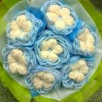 ช่อดอกไม้โครเชต์(สีฟ้า)