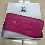กระเป๋าสตางค์ Chanel มาใหม่แต่งโลโก้สวย ขนาด 4.5x7 นิ้ว ราคา 400 บาท สีชมพูบานเย็น