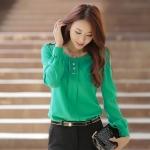 เสื้อชีฟองแขนยาว เขียว/ดำ XL 2XL 3XL