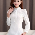 เสื้อทำงานผู้หญิงแขนยาวสีขาว ประดับลูกไม้แฟชั่นสวยหรู