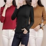 เสื้อยืดกันหนาวไซส์ใหญ่ คอตั้ง แขนยาว สำหรับฤดูใบไม้ร่วงและฤดูหนาว สีดำ/สีกากี/สีไวน์แดง (M,L,XL,2XL,3XL,4XL,5XL) LYX1579