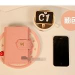 กระเป๋าใส่ iPhone แบบแมว ลายเส้น-สีชมพูอ่อน