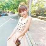 """""""พร้อมส่ง""""เสื้อผ้าแฟชั่นสไตล์เกาหลีราคาถูก เดรส แขนกุดผ้าชีฟองสีชมพู ตัวเสื้อเย็บเป็นสองชั้น ชั้นนอกเป็นผ้าสีชมพูลายจุดดำ กระดุมหน้า เอวจั๊ม กระโปรงอัดพลีต มีซับใน"""