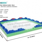 US-6006 ตัวต่อขนาดใหญ่ Macrobrik Snow ball pool defense castle size:L 1x2 (173 pcs.) สีเขียว/สีฟ้า/แดง พร้อมลูกบอล1500ลูก