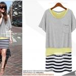 """""""พร้อมส่ง""""เสื้อผ้าแฟชั่นสไตล์เกาหลีราคาถูก Brand Hua Si Jie set 2 ชิ้น เดรสแขนกุดเสื้อเหลืองต่อกระโปรงลายขวางสีขาวดำ ไม่มีซับใน +เสื้อสีแขนสั้นสีเทา"""