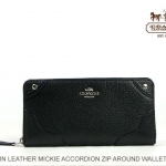 Coach Mickie Accordion Zip Wallet in Grain Leather # 52645 สี Black