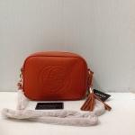 กระเป๋า Gucci SOHO DISCO มาใหม่ หนังนิ่ม ตกแต่งอะไหล่เงิน ขนาด ฐ. 7.5 x ส.5 นิ้ว  สีส้ม