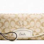 Coach Signature Large Flap Wristlet Bag # 48127 Khaki Ivory