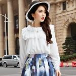 เสื้อชีฟองแขนยาวไซส์ใหญ่สไตล์เกาหลี สีขาว (F,XL,2XL,3XL,4XL,5XL)