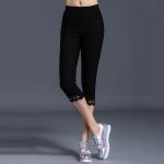 กางเกงเลกกิ้งไซส์ใหญ่สีดำ ผ้ายืด ขาสามส่วน ปลายขาลูกไม้ (XL,2XL,3XL,4XL,5XL)