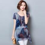 เสื้อชีฟองสีน้ำเงินพิมพ์ลายไซส์ใหญ่ แขนสั้น ชายเสื้อแบบเก๋ (M,L,XL,2XL,3XL,4XL,5XL)