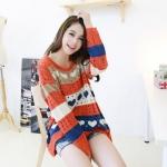 """""""พร้อมส่ง""""เสื้อผ้าแฟชั่นสไตล์เกาหลีราคาถูก Brand Lele Style เสื้อไหมพรมถักลายรูปหัวใจ น่ารัก -สีส้ม"""