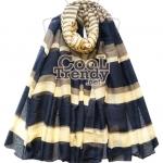 ผ้าพันคอแฟชั่นลาย Stripe : สีน้ำเงินครีม - ผ้าพันคอ cotton - size 180*80