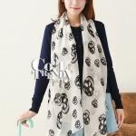 ผ้าพันคอลายหัวกะโหลก Skull pattern scarf : สีขาวดำ : ผ้าพันคอชีฟอง - size 170*70 cm