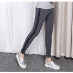 กางเกงยืดทรงสลิมขายาวไซส์ใหญ่ แถบข้างเย็บลูกไม้ยาว สีเทาเข้ม/สีดำ (3XL,4XL,5XL,6XL)