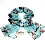ผ้าพันคอแฟชั่นลายโอลีฟ Olive : สีฟ้า CK0360