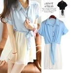 """""""พร้อมส่ง""""เสื้อผ้าแฟชั่นสไตล์เกาหลีราคาถูก เดรสเสื้อเชิ้ิตสีฟ้า คอปก กระดุมหน้า ชายยาวไว้ผูกเอว ต่อกระโปรงสีขาว จั๊มเอว มีซับใน size M"""