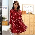 เดรสผ้าไหมไซส์ใหญ่ สีแดงพิมพ์ลายหัวใจ แขนยาว (XL,2XL,3XL)