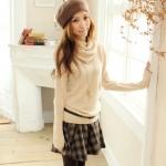 """""""พร้อมส่ง""""เสื้อผ้าแฟชั่นสไตล์เกาหลีราคาถูก Brand Tokyo Fashion เสื้อไหมพรมกันหนาว คอเต่า แขนยาว -สีเบจ"""