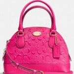 COACH SIGNATURE EMBOSSED PATENT MINI CORA DOME SATCHEL # 35279 สี LIGHT GOLD/PINK