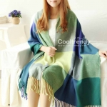 ผ้าพันคอ ผ้าคลุมพัชมีนา Pashmina ลายตาราง size 200x60 cm- สี Green Blue