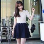 """""""พร้อมส่ง""""เสื้อผ้าแฟชั่นสไตล์เกาหลีราคาถูก Brand Love of clothes เดรสเสื้อคอบัวแขนสั้นสีครีม ระบายลูกไม้ที่เอว ต่อประโปรงสีดำ มีซับในทั้งตัว ซิปหลัง size M"""