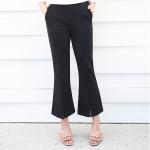 กางเกงขายาวสีดำไซส์ใหญ่ เอวยางยืด ปลายขาบานตัดแฉก (4XL) FH-391
