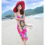 ผ้าสายเดี่ยวคลุมชายหาดลายดอกไม้ Blossom : สีชมพู AB0022