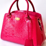Coach Signature Debossed Embossed Patent Leather Mini Margot Carryall # 35191 สี PINK RUBY