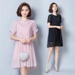 มินิเดรสชีฟองแฟชั่นเกาหลี แขนสั้น สีดำ/สีชมพู (XL,2XL,3XL,4XL,5XL)