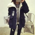 เสื้อกันหนาวไซส์ใหญ่ ผ้าฝ้ายบุผ้าขนแกะ สีดำ/สีเขียว (M,L,XL,2XL)