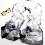 ผ้าพันคอแฟชั่นลายดอกไม้ Blossom : สีดำขาว CK0022