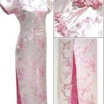 ♥พร้อมส่ง♥ ชุดกี่เพ้ายาว ลายดอกเหมย แขนสั้น ติดซิปข้าง สีชมพู