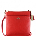 COACH NORTH/SOUTH SWINGPACK IN EMBOSSED TEXTURED LEATHER # 52348 สี LIGHT GOLD/RED