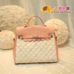 กระเป๋าแฟชั่นXiaoxiang กระเป๋าสีหวานลายโบว์ มีสายสะพาย-สีชมพูขาว น่ารัก