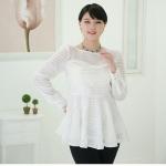 เสื้อชีฟองไซส์ใหญ่สีขาว ติดไข่มุกสวยหรู (L,XL,2XL,3XL,4XL,5XL)
