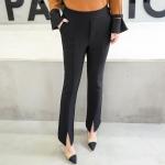 กางเกงขายาวผ้ากำมะหยี่หนาไซส์ใหญ่ แต่งปลายขาแฉก สีดำ (XL,2XL,3XL,4XL,5XL)