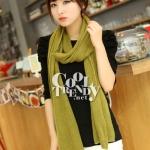 ผ้าพันคอไหมพรม ผ้า cashmere scarf size 180x30 cm - สี Olive